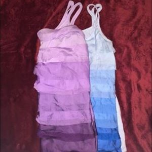 Purple And Blue Ruffled Tank Tops